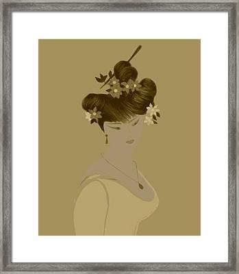 Japanise Girl Framed Print by Emna Bonano