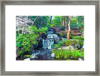 Japanese Waterfall Garden Framed Print by Scott Carruthers