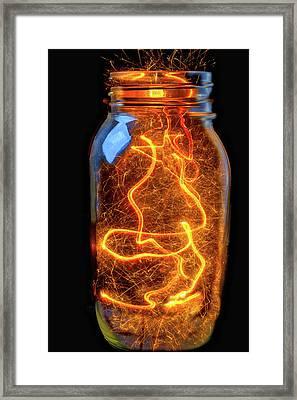 Jar Full Of Sparks Framed Print by Garry Gay