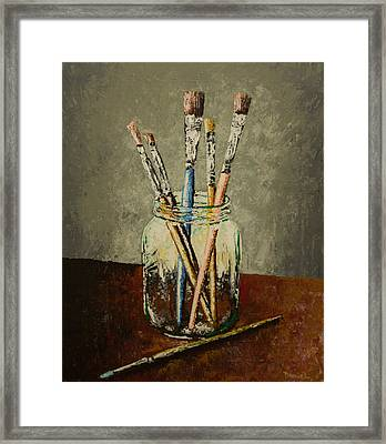 Jar Of Brushes #5 Framed Print by Daniel Gilbreath