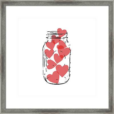 Jar Of Hearts- Art By Linda Woods Framed Print