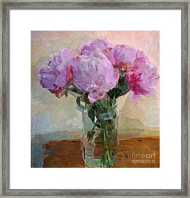 Framed Print featuring the digital art Jar Of Peonies by Alexis Rotella