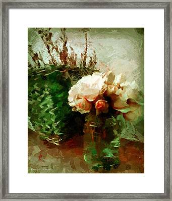 Jar Of Roses With Lavender Framed Print