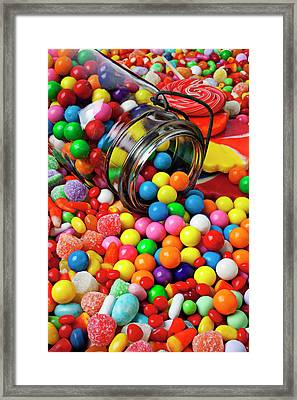 Jar Spilling Bubblegum With Candy Framed Print