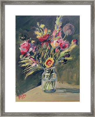 Jar Vase With Flowers Framed Print