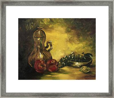 Framed Print featuring the painting Jar With Fruit by Rebecca Kimbel