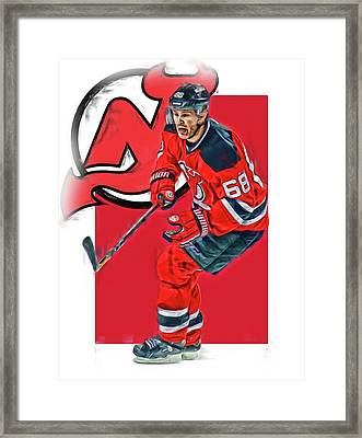 Jaromir Jagr New Jersey Devils Oil Art Series 1 Framed Print