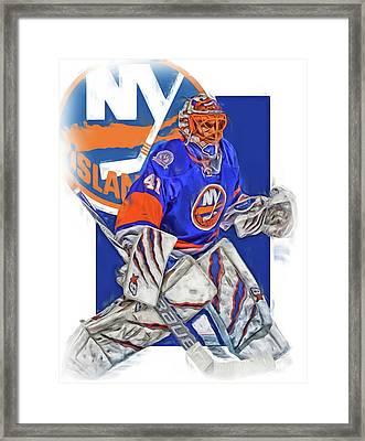 Jaroslav Halak New York Islanders Oil Art Framed Print by Joe Hamilton