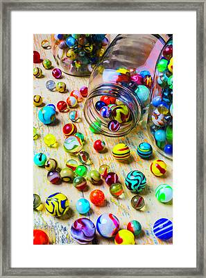 Jars Of Marbles Framed Print by Garry Gay