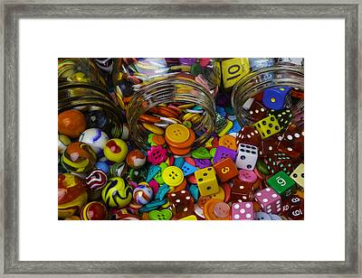 Jars Pouring Out Marbles Buttond Dice Framed Print by Garry Gay