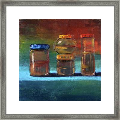 Framed Print featuring the painting Jars Still Life Painting by Nancy Merkle