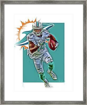 Jarvis Landry Miami Dolphins Oil Art Framed Print by Joe Hamilton