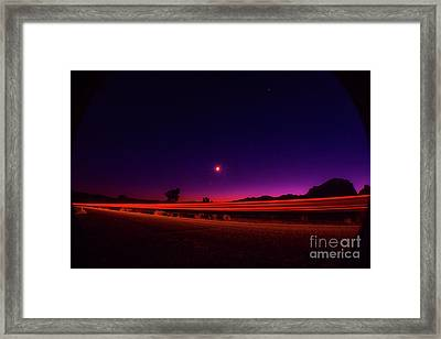 Jashua Tree Night Sky Light Trails Framed Print by Timothy Kleszczewski