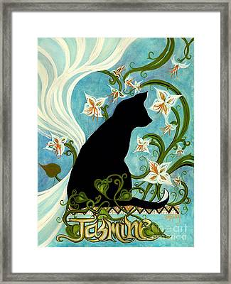 Jasmine On My Mind - Black Cat In Window Framed Print