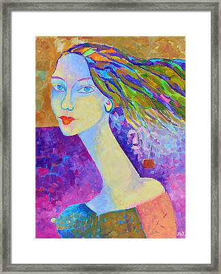Modigliani Style Portrait Of A Woman Painting Colorful  Framed Print