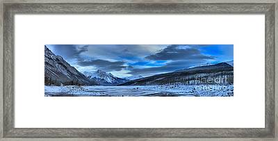 Jasper Medicine Lake Snowy Panorama Framed Print by Adam Jewell