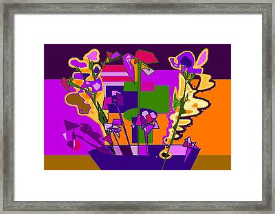 Jaune Mauve V Framed Print by Therese AbouNader