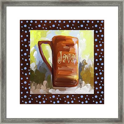 Java Coffee Cup With Blue Dots Framed Print by Jai Johnson