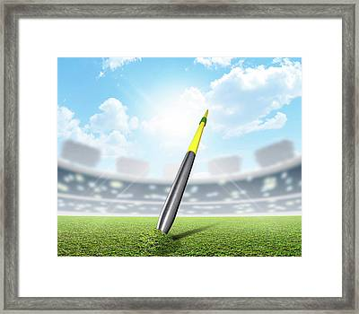 Javelin In Stadium And Green Turf Framed Print by Allan Swart