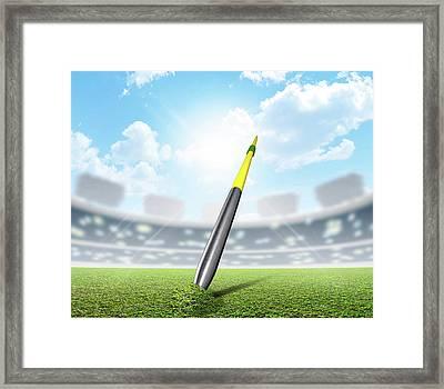 Javelin In Stadium And Green Turf Framed Print
