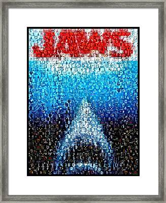 Jaws Horror Mosaic Framed Print