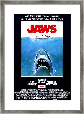 Jaws Movie Poster - 1975 Framed Print by The Titanic Project