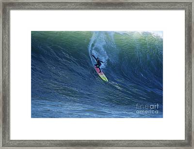 Jay Drops In At Mavericks Framed Print