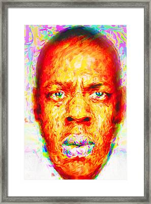 Jay-z Shawn Carter Digitally Painted Framed Print