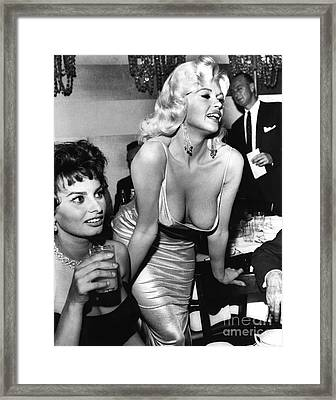 Jayne Mansfield Hollywood Actress And, Italian Actress Sophia Loren 1957 Framed Print