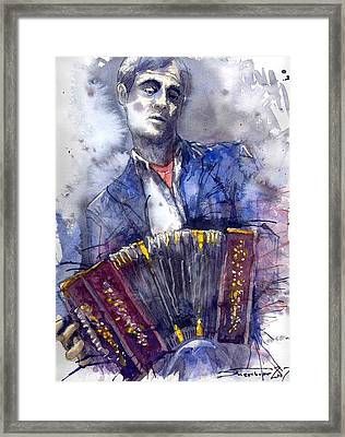 Jazz Concertina Player Framed Print by Yuriy  Shevchuk