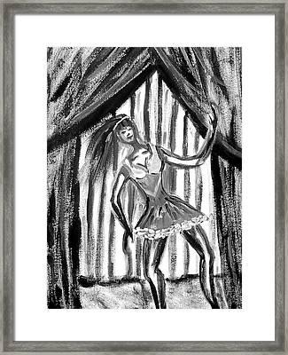 Jazz Dancer In Black  And White Framed Print by BJ Abrams