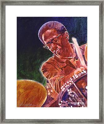 Jazz Drummer Brian Blades Framed Print by David Lloyd Glover