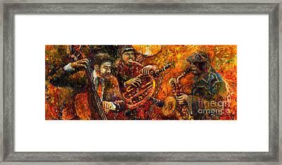 Jazz Gold Jazz Framed Print by Yuriy  Shevchuk