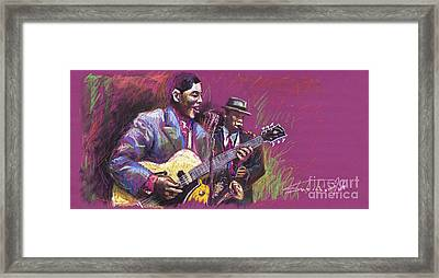 Jazz Guitarist Duet Framed Print by Yuriy  Shevchuk