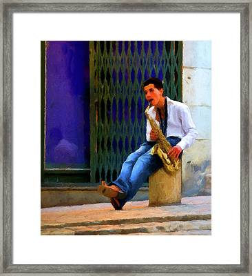 Framed Print featuring the photograph Jazz In The Street by David Dehner
