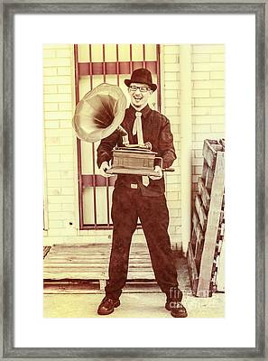 Jazz Man In The Back Alley Framed Print by Jorgo Photography - Wall Art Gallery