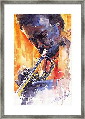 Jazz Miles Davis 9 Red Framed Print by Yuriy  Shevchuk