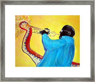 Jazzy Trumpet Player Framed Print