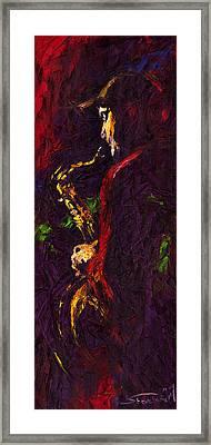 Jazz Red Saxophonist Framed Print by Yuriy  Shevchuk