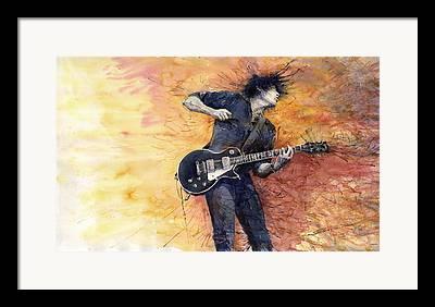 Guitarist Paintings Framed Prints