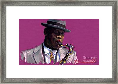 Jazz Saxophonist Framed Print by Yuriy  Shevchuk
