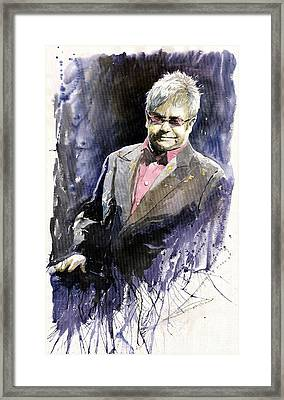 Jazz Sir Elton John Framed Print by Yuriy  Shevchuk