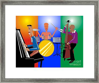 Jazz Trio Framed Print by Walter Oliver Neal