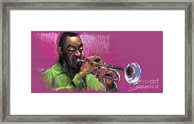 Jazz Trumpeter Framed Print by Yuriy  Shevchuk