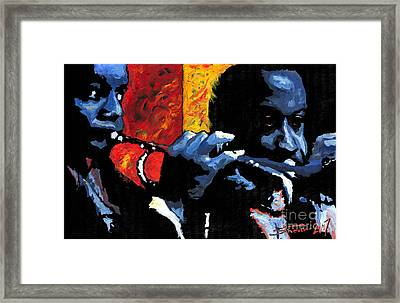 Jazz Trumpeters Framed Print by Yuriy  Shevchuk