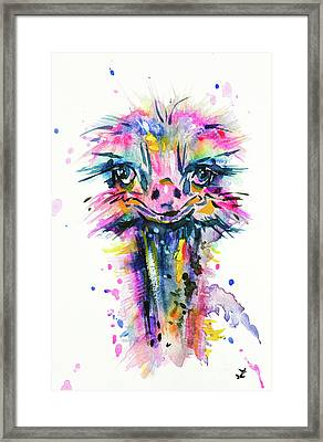 Framed Print featuring the painting Jazzzy Ostrich by Zaira Dzhaubaeva