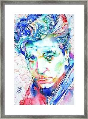 Jean Gabin - Colored Pens Portrait Framed Print