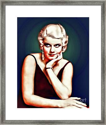 Jean Harlow, Hollywood Legend, Digital Art By Mary Bassett Framed Print