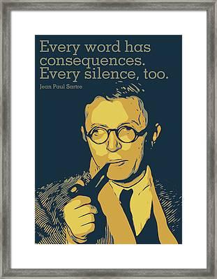 Jean Paul Sartre Framed Print