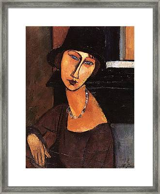 Jeanne Hebuterne With Hat And Necklace Framed Print